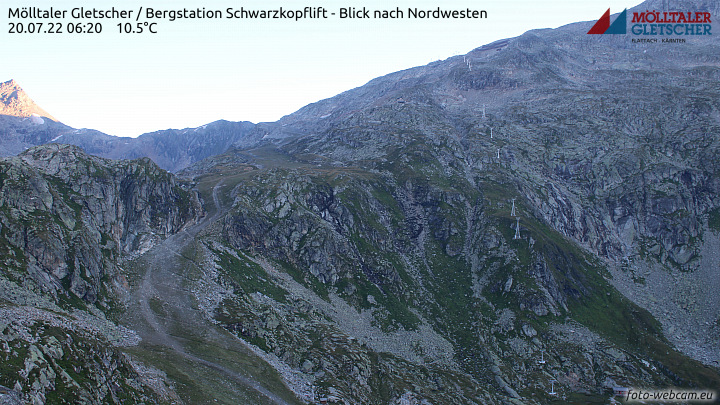 Flattach, Mölltaler Gletscher, Bergstation Schwarzkopflift - Blick nach Nordwesten