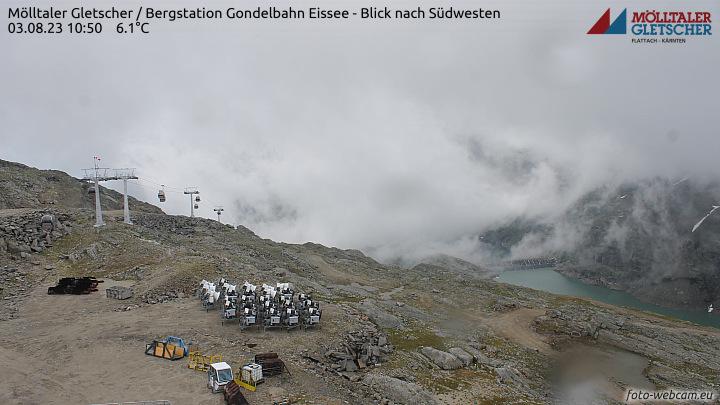 Flattach, Mölltaler Gletscher, Bergstation Eissee - Blick nach Südwesten