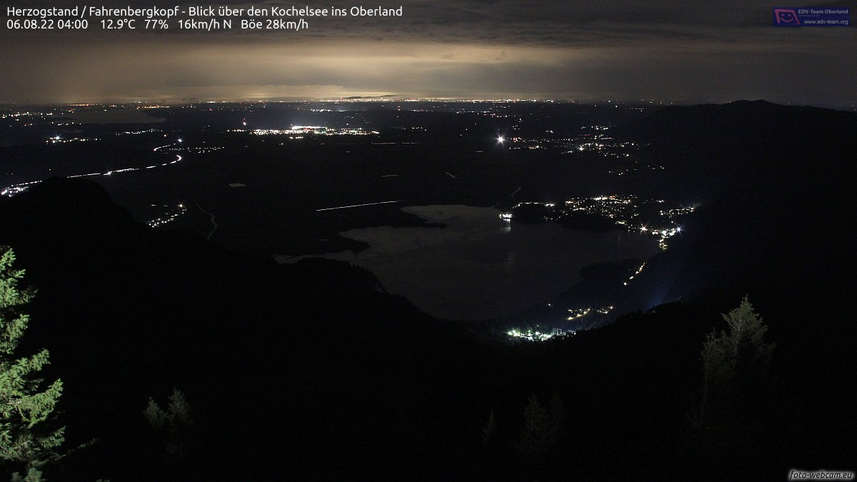 Webcam Kochelsee Herzogstand, Quelle: foto-webcam.eu