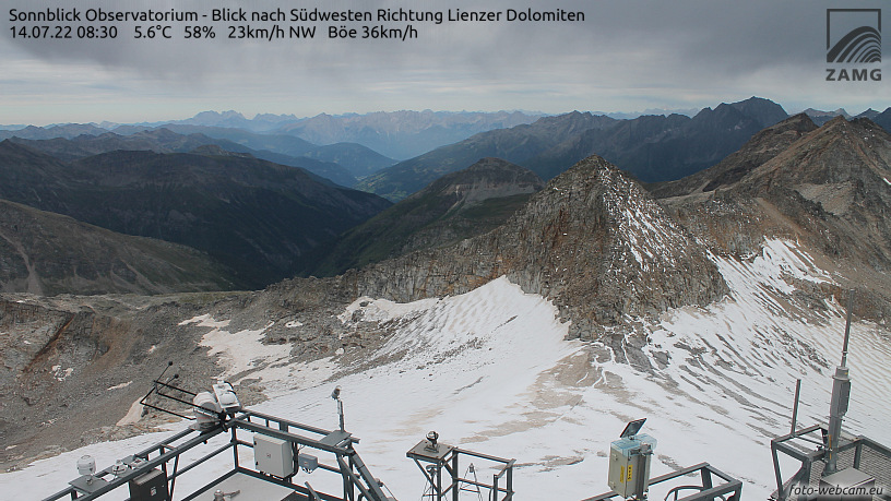 WEBkamera Hoher Sonnblick - pohled k jihozápadu na Goldbergspitze