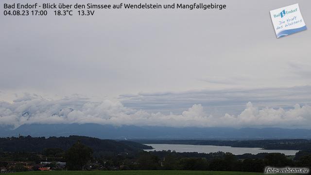 Simssee Webcam - Bad Endorf - Blick über den Simssee auf den Wendelstein und das Mangfallgebirge