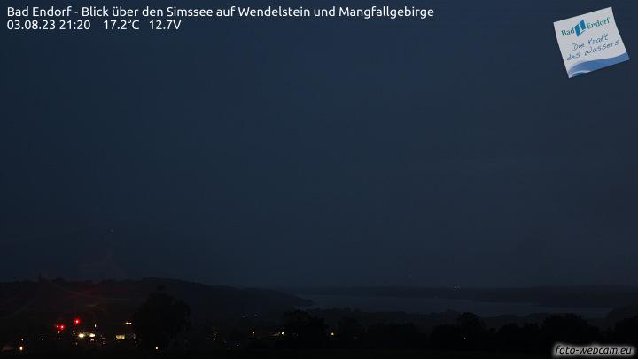 Webcam in Bad Endorf am Simssee mit Blick nach Südwesten über Bad Endorf und den Simssee hinweg zum Wendelstein.