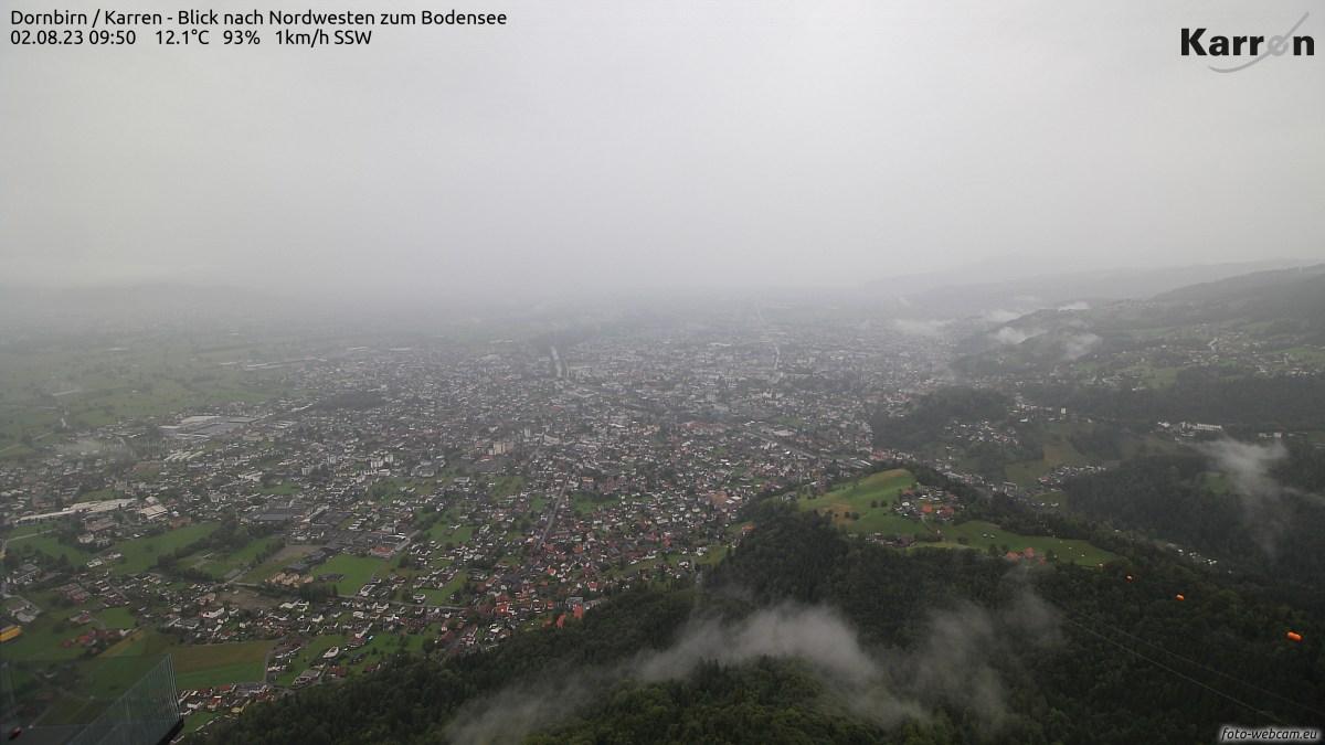 Blick vom Karren auf Dornbirn und den Bodensee