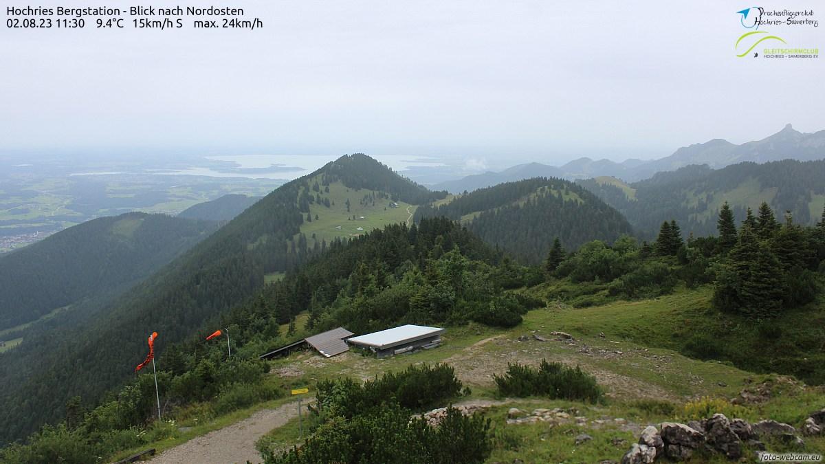 Blick Richtung Chiemsee mit aktuellen Windwerten, Quelle: foto-webcam.eu