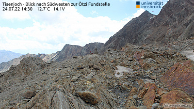 Schnalstal Valley - Tisenjoch - View to the place of discovery Ötzi