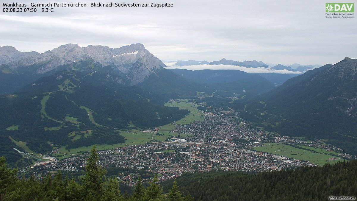 Webcam Wankhaus - Garmisch-Partenkirchen - Blick nach Südwesten zur Zugspitze