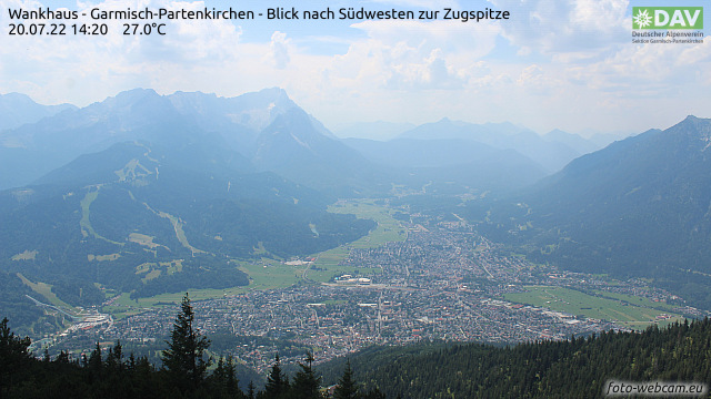 Aktueller Blick vom Wankhaus auf Garmisch-Partenkirchen